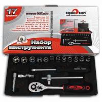 "Набор головок 1/4"" 4-13 мм с трещоткой, удлинителем и карданом Сервис Ключ"